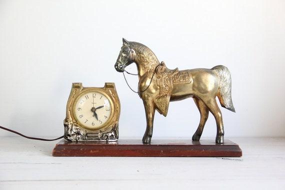 antique horse clock /  mantle, shelf decor