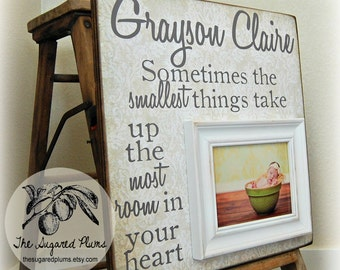 Baptism Gift, Goddaughter Gift, Personalized Baptism Frame, Sometimes the Smallest Things, 16x16 The Sugared Plums Frames