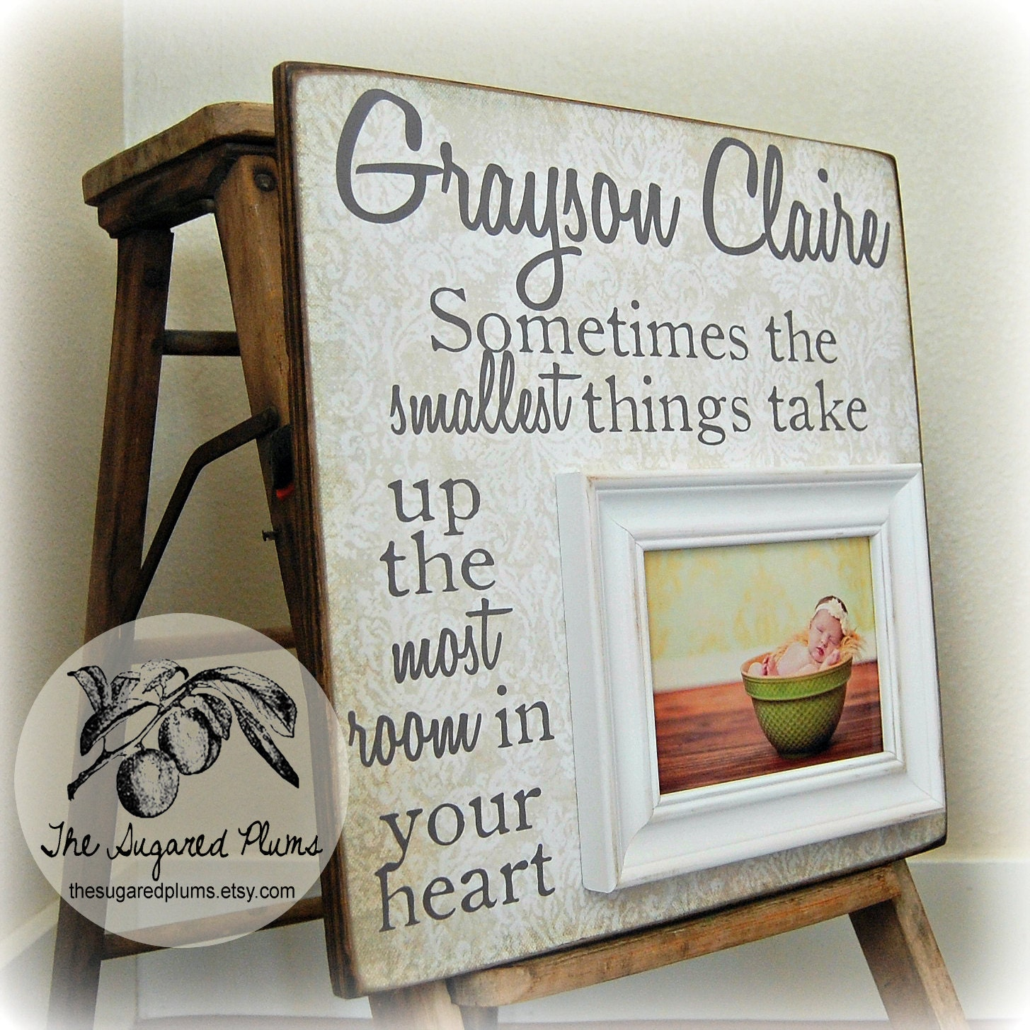 Christening Gift Personalized Picture Frame By Thesugaredplums