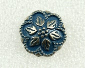 Wholesale - Metal Buttons - Lot 50 Retro Steel Blue Painting Peperomia Leafs Gunemtal Patel Edge Buttons. 0.67 inch