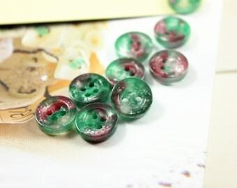 Translucent  Plastic Buttons - Lot 10 Emerald Stone Like Translucent Plastic Buttons.   0.43 inch
