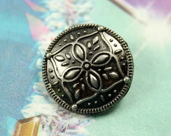 Metal Buttons - Flower Mandala Metal Buttons , Nickel Silver Color , Shank , 0.83 inch , 10 pcs