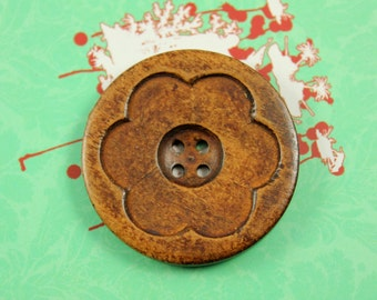 Large Wooden Buttons - Intaglio Carving Big Flower Bloom Brown Color Wooden Buttons, 1.58 inch (6 in a set)