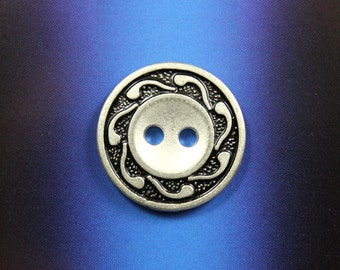 Swirl Metal Buttons , Silver Black Color , 2 Holes , 0.79 inch , 10 pcs