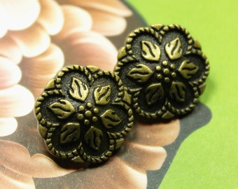 Metal Buttons - Peperomia Leafs Metal Buttons , Antique Brass Color , Shank , 0.59 inch , 10 pcs