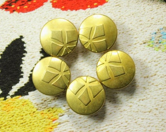 Metal Buttons - Silhouette Flower Metal Buttons , Pale Gold Color , Shank , 0.59 inch , 10 pcs