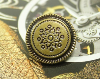 Metal Buttons - Flower Carving Metal Buttons , Antique Brass Color , Shank , 0.79 inch , 10 pcs
