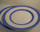 2 Cornishware Salad Side Plates Green Shield Mark 1930s-60s 9in Diam