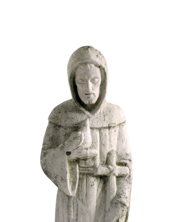 Vintage Cement Concrete 26 Hooded St Francis Of Assisi