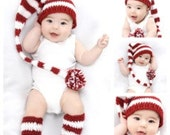 Baby Christmas Hat and Legwarmers - Red and White Elf Hat and Leggings - Baby's First Christmas - Hat and Legging Set - Holiday Photo Prop