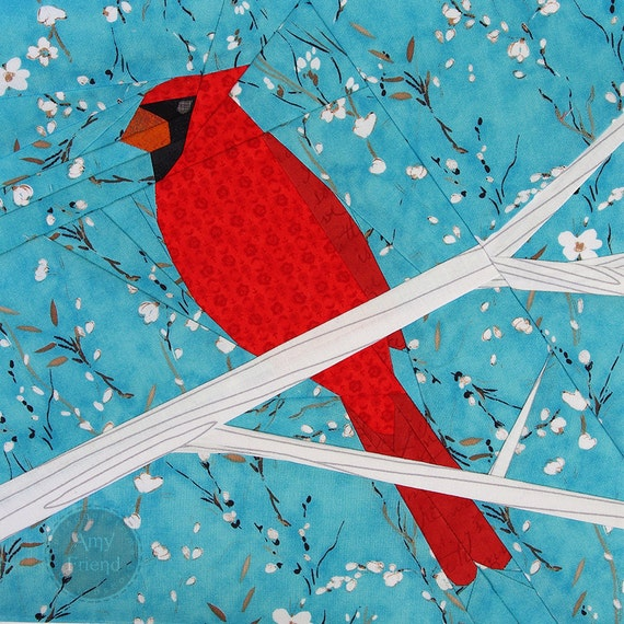 cardinal paper pieced pattern from duringquiettime on etsy