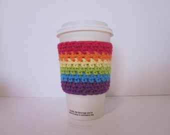 Cup Cozy, Rainbow Coffee Cozy