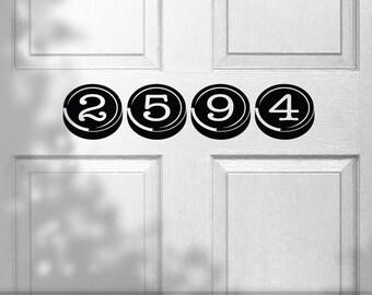 Custom House Numbers Vinyl Door Sign Decal in Typewriter Keys Keyboard Style