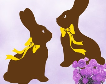 2 Easter Decorations Rabbit Wall Decals, Faux Chocolate Bunny Easter Decal with Ribbon Bows in Your Choice of Color