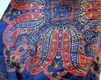 Vintage Scarf Royal Blue Red Van Horn silk