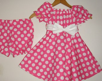 Minnie Mouse Dress pink  polka dot dress with matching panty  (available in sizes 1 to 4)