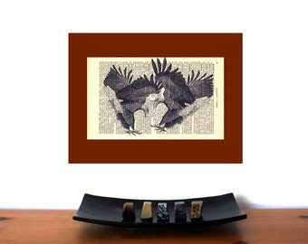 Irresistible Love Eagles Art Print on an Antique 1896 Dictionary Book Page