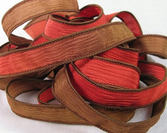 Hand Dyed Silk Ribbons - Crinkle Hand Painted Silk Jewelry Bracelet - Fairy Ribbons  - Quintessence - Red Earth