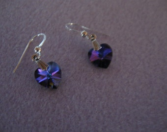 Exquisite Blue Swarovski Crystal Heart Sterling Silver Earrings