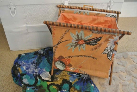 Knitting Bag Stand : Vintage knitting bag wooden stand with extra cover perfect