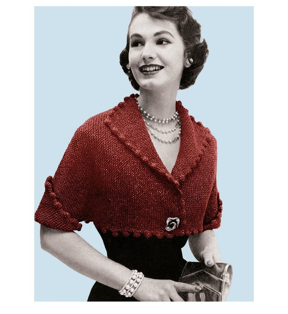 Vintage Knitting Pattern 1950s Pom Pom Cropped Bolero Digital Download PDF