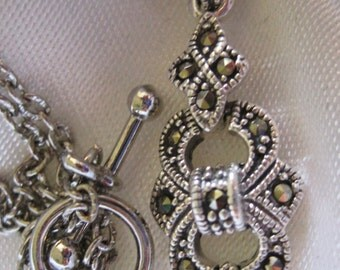 Vintage Marcasite Bridal Pendant 925 Silver/SilverPlate Chain and SilverPlate Toggle Connector