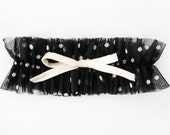 SAMPLE SALE, Chantelle Black and White Polka dot mesh Wedding Garter , Boudoir garter,  Modern Garter, Bridal garter