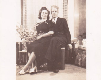 Couple Sitting Together - Vintage Photograph, Vernacular, Found Photo, Ephemera  (N)