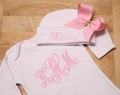 Baby Girls White Infant Gown and Hat Set Monogrammed Coming Home Gown Set