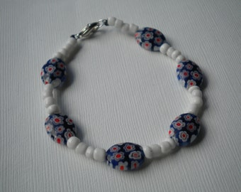 Blue & White Floral Bracelet