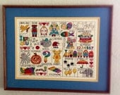 ALPHABET Animals and Toys in Needlework, Great for Kids' Room, Colorful and Expertly Made