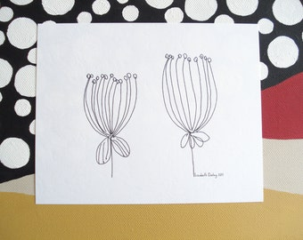 Two Dried Seed Pods Black and White Print on Acid Free Cardstock 5 1/4 x 6 1/2