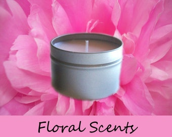 Floral Scented Candle in Travel Tin You Choose Scent 4 oz