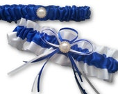 Wedding Garter SET , beautiful Electric blue and white with Pearls and diamontes