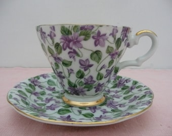 Lefton China Violet Chintz Teacup and Saucer