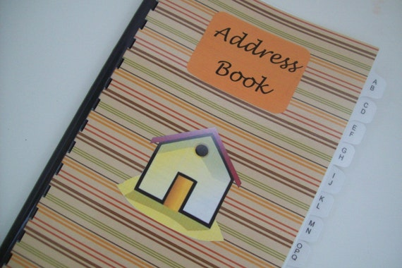 Address Book Spiral Notebook, Brown with Green, Orange, Red, and Brown Stripes Cover, Address Book