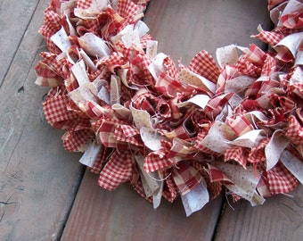 "Rag Door Wreath in Red Homespun 15"",  Farmhouse Wreath, Primitive Country Collection,  Handmade in NJ"