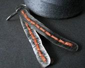 custom order for Laurel - stitched metal orange embroidered sterling silver earrings