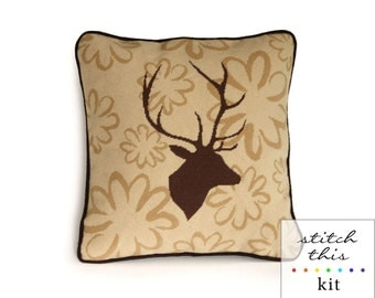 stag on wallpaper rustic modern needlepoint kit - diy - contemporary