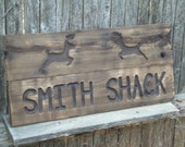 Deer Rustic Custom Carved wood sign from reclaimed wood - personalized with wedding date anniversary - western cedar
