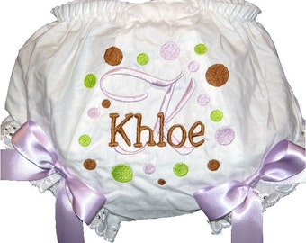 Peresonalized Lime, Brown & Lavender Dots Baby Girl  Bloomers, Diaper Cover