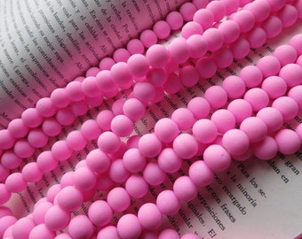 5 Str- Crystal Glass Rubberized NEON Pink 10mm Round Beads- 40pcs/strand