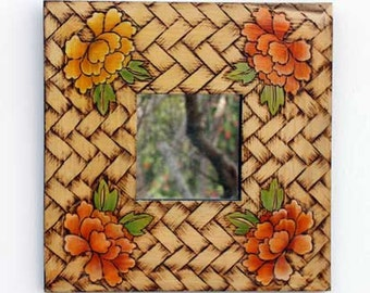 Recycled Wall hanging mirror frame with basket and flowers design
