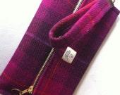 Harris tweed clutch purse/wallet made in Scotland bag gift women girls Scottish evening bag