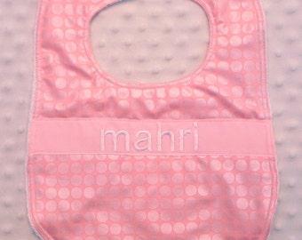 Personalized Bib - Baby Girl Bib Pink Iridescent Polka Dots