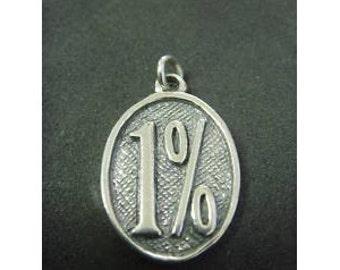 1percent Er Pendant Sterling Silver Harley Biker Outlaw Mint