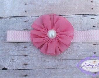 Pink flower baby headband, infant headband, newborn headband, hot pink flower on pink chevron headband