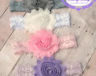 Baby headband set, newborn headband, infant headband, lace headband, shabby flower headband, baby hair band
