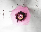 Pink Flower with Pink Bloody Eyeball Hair Clip