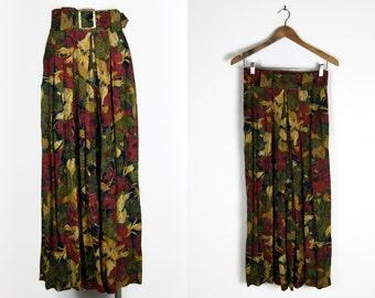 80s belted floral culottes / wide leg pants // sz m - l